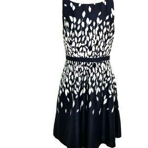 Loft Navy Blue Leaf Print A-Line Dress Size 14